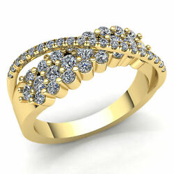 Natural 1ct Round Cut Diamond Ladies Personalized Fancy Wedding Band 14k Gold