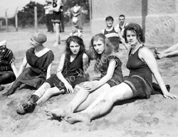 Bathing Beauties on the Beach Old Photo 8.5quot; x 11quot; Reprint $12.58