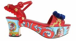 New Dolce And Gabbana Shoes Handpainted Red Leather Carretto Sandals Eu39 / Us8.5