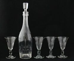 Antique Glas 19th C Faceted Crystal Wine Sherry Port Decanter And 4 Glasses