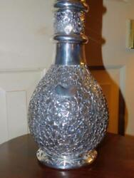 Antique Chinese Export Sterling Silver Caged Overlay Decanter Ye Ching China