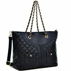 Women#x27;s Large Handbags Faux Leather Tote Purse Shoulder Bags with Long Strap $29.99