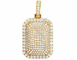 Real 10k Yellow Gold Genuine Diamond Iced Dome Pillow Pendant Charm 3 1/5ct 1.5