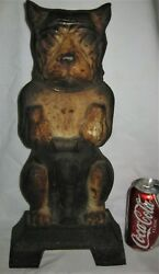 ANTIQUE VICTORIAN USA BOSTON TERRIER LG DOG DOORSTOP CAST IRON STATUE HUBLEY TOY