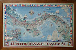 Picturial Map Canal Of Panama 1940 / Poster Original Teegarden And Herman