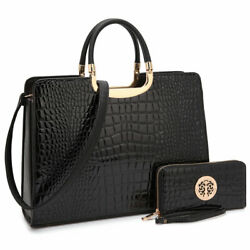 Dasein Womens Chic Handbag Croco Faux Leather Briefcase Satchel Purse Laptop Bag $43.99