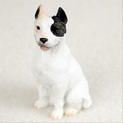 Pit Bull Terrier White Dog Tiny One Miniature Small Hand Painted Figurine
