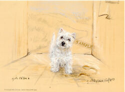 Westie West Highland Terrier Limited Edition Print Gill Evans The Leash Guard
