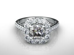 2.0 Ct Cushion F/si1 Diamond Solitaire Engagement Ring 14k White Gold Xmas