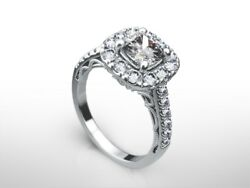 2.0 Ct Cushion H/si1 Diamond Solitaire Engagement Ring 14k White Gold Xmas
