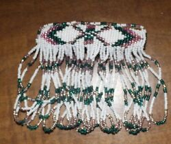 Native American Beaded Barrette White/green/pink Tight Beading Free Shipping
