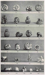 Display Of Netsuke Japanese Wood And Ivory Figurines -1902 Japan Lithograph