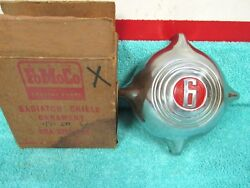 1949-50 Ford Passenger Car 6 Radiator Grill Ornament Nos Ford In Box 1017