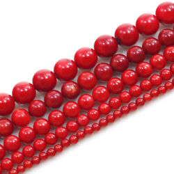 Gemstone Red Coral Round Spacer Beads 16and039and0392 3 4 5 6 7 8 10 11 12mm Free Shipping