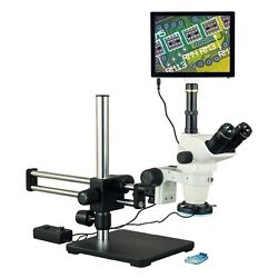 Omax 6.7-45x 5mp Touchpad Simul-focal Zoom Ball Bearing Microscope 144 Led Light