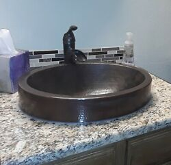 18 Oval Copper Bathroom Sink With 3 Apron With Lift And Turn Drain
