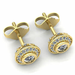 Real 1ctw Round Cut Diamond Ladies Double Halo Solitaire Stud Earrings 18k Gold