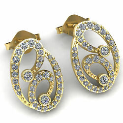Natural 3ct Round Cut Diamond Ladies Casual Oval Stud Earrings 18k Gold
