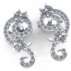 Natural 3ct Round Cut Diamond Ladies Twisted Unique Fashion Earrings 18k Gold