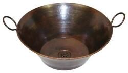 Simplycopper Large 16 Vintage Copper Cazo Bathroom Vessel Sink With Daisy Drain