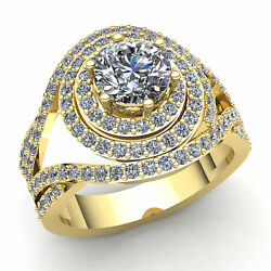 Natural 2ct Round Cut Diamond Ladies Bridal Double Halo Engagement Ring 18k Gold