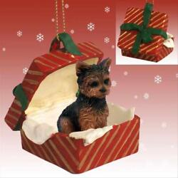 Yorkshire Terrier Sport Cut Dog RED Gift Box Holiday Christmas ORNAMENT