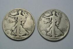 1918-d A.fine And 1918-s Fine Condition Walking Liberty Half Dollars - C4417