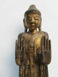 Antique Carved Wooden Gilded Statue Of Standing Budha On Lotus Base