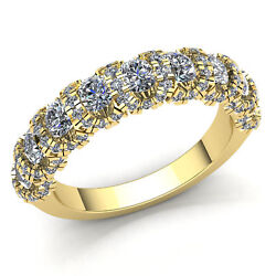 Genuine 3ct Round Cut Diamond Ladies Micro Pave Stackable Wedding Band 18k Gold