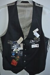 Classic Black Wool Vest With Sewn On Vintage Clothing Labels Mens Medium/nice