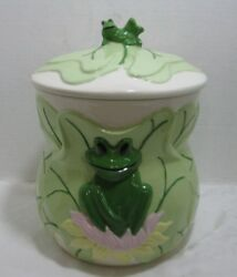 Kimple Mold Corp 1985 Ceramic X-large Frog And Lily Pads Cookie Jar Canister