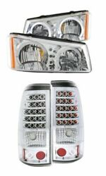 Anzo Chrome Halogen Crystal Headlights And 2 Led Tail Light Kit For Silverado 2500