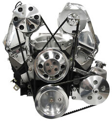 Sws Sbc Polished Front Engine Kit,chevy,power Steering Pump,a/c,alternator,water