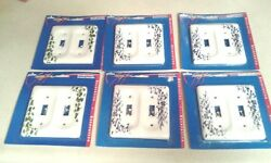 6 Leviton Blue Green Vine Pattern 2G Porcelain Switch Cover Toggle Wall Plate