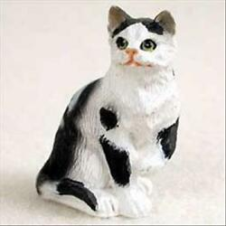 Black and White Cat Short Hair Tiny One Miniature Small Hand Painted Figurine