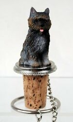 Cairn Terrier Brindle Dog Hand Painted Resin Figurine Wine Bottle Stopper