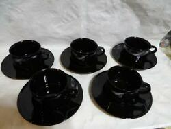 Mikasa Galleria Fk 701 5 Cups And 5 Saucers Opus Black