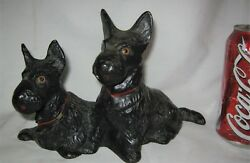 ANTIQUE HUBLEY TOY USA CAST IRON DOUBLE SCOTTISH TERRIER DOG ART STATUE DOORSTOP
