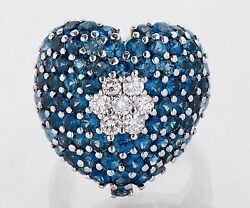 Large 18k White Gold Diamond And Sapphire Heart Ring