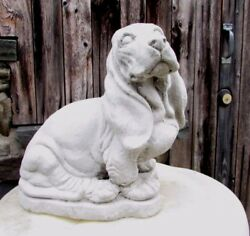 CONCRETE LIFE SIZE BASSET HOUND STATUE   MEMORIAL   GRAVE MARKER