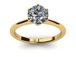 Certifed 0.95 Ct D Vs1 Round Diamond Wedding Engagement Solitaire Ring 18k Gold