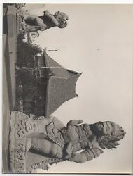 Large 1939 Ggie World's Fair Photo Of Thai Statues And Building 5