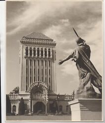 Large 1939 Ggie World's Fair Photo Of Statue And Art Deco Building 3