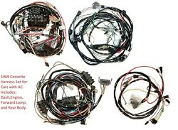 1969 Corvette Wiring Harness Set Factory Air Conditioning Us Reproduction C3 New