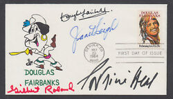 Douglas Fairbanks, Jr., Janet Leigh, Gilbert Roland, Patricia Neal, Signed Fdc