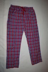 Mens Woven Pajama Pants Red Blue White Plaid Lt Weight Pockets Lounge Xl 40-42