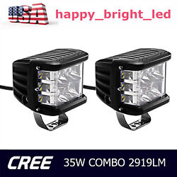 2X 4inch 35W Side Shooter CREE LED Work Light Combo Pods Offroad 6000K VS 70W