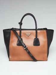 Prada BrownBlack Glace Calfskin Leather Twin Pocket Double Handle Tote Bag BN26