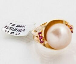 Large Apricot South Sea Pearl And Ruby 14k Rose Gold Ring