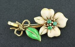 Vintage And Co. 18k Yellow Gold Enamel, Emerald, And Diamond Flower Pin